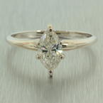 Classic Estate Ladies 14K White Gold Marquise Diamond 0.75CTW Engagement Ring Jewelry