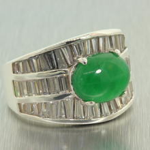 Striking Ladies 925 Sterling Silver Jade Cabochon Ring Jewelry