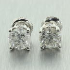 NEW Classic Ladies Estate 14K White Gold Diamond 2.25CTW Stud Earrings Jewelry