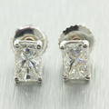 Classic Ladies 14K White Gold Emerald Cut Diamond 1.00CTW Stud Earrings Jewelry