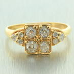 Fine Womens Antique 14K Yellow Gold Diamond 0.85CTW Ring Jewelry