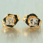 Cute Estate 14K Yellow Gold Princess Cut Diamond 0.25CTW Stud Earrings Jewelry
