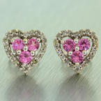Lovely Ladies 14K White Gold Diamond Topaz 0.50CTW Heart Stud Earrings Jewelry