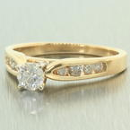 Classic Womens Vintage 14K Yellow Gold Diamond 0.60CTW Engagement Ring