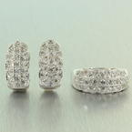 Classic Retro Style 14K White Gold Diamond 1.50CTW 2pc Ring Earrings Jewelry Set