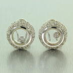 Scintillating Ladies 14K White Gold Moving Diamond 0.65CTW Latch Back Earrings Jewelry