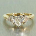 Fancy Cut Ladies 14K Yellow Gold Heart and Trilliant Diamond 1.25CTW Engagement Ring Jewelry