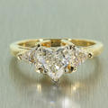 Exquisite Ladies 14K Yellow Gold Heart and Trilliant Diamond 1.25CTW Engagement Ring Jewelry