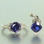 Stunning Vintage 925 Sterling Silver Blue Spinel and Diamond Pendant and Ring Jewelry Set