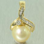 Lustrous Ladies 18K Yellow Gold Pearl and Diamond Drop Pendant Jewelry