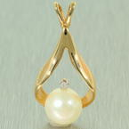 Lustrous Ladies 14K White Gold Pearl and Diamond Pendant Jewelry