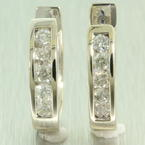 NEW Modern Ladies 14K White Gold Diamond 0.70CTW Hoop Huggie Earrings
