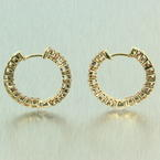 Classic Ladies 14K White Gold Diamond 0.96CTW Inside Out Hoop Earrings Jewelry