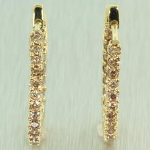 Classic Estate Ladies 14K Yellow Gold Real Diamond 0.96CTW Inside Out Hoop Earrings Jewelry