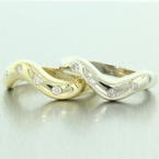 Modern Ladies 14K Yellow and White Gold Diamond 0.25CTW Stackable Wave Rings Jewelry