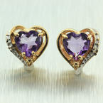 NEW Modern 14k Yellow Gold Amethyst Heart Diamond Stud Earrings