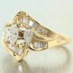 Exquisite Ladies 14K Yellow Gold Diamond 1.00CTW Bypass Right Hand Ring Jewelry