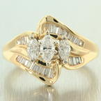 Classic Womens Vintage Estate 14K Yellow Gold Diamond 1.00CTW Bypass Ring