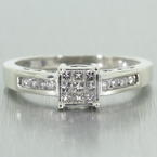 Fine Classic Estate 14k White Gold Natural Diamonds Engagement Ring Jewelry