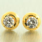Charming Ladies 18K Yellow Gold Diamond 0.40CTW Stud Earrings Jewelry