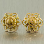 Exquisite Ladies Vintage 21K Yellow Gold Ornate Earrings Jewelry