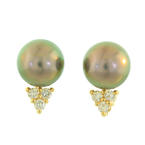 Lustrous Ladies 14K Yellow Gold Tahitian Pearl  & Diamond Earrings Jewelry