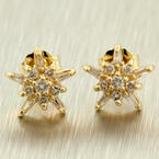 Classic Estate 14K Yellow Gold Round & Baguette Diamond 0.35CTW Earrings Jewelry