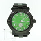 Men's Renato Diamond Beast Green Dial Stainless Steel Quartz Watch
