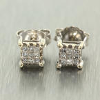 Stunning 14k White Gold Princess Cut Diamond 0.20CTW Studs Earrings Jewelry