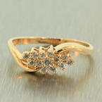 Fine Vintage Estate Ladies 14K Yellow Gold  Natural Diamond Right Hand Ring Jewelry
