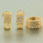 Modern Style 14K Yellow Gold Diamond 0.90CTW Rope Design Two Piece Jewelry Set