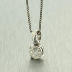 "Classic Vintage 14K White Gold Natural Diamond 0.65CTW in 16"" Box Chain"