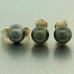 Classic Ladies 14K Yellow Gold Tahitian Pearl Diamond 2PC Jewelry Set