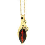 "Vintage Estate 10K Yellow Gold Natural Garnet 3.95CTW Pendant in 18"" Chain"