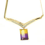Divine Ladies 14K Yellow Gold Diamond and Ametrine 6.25CTW Necklace Jewelry