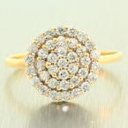 Scintillating Ladies 10K Yellow Gold Zirconia Cluster Ring Jewelry