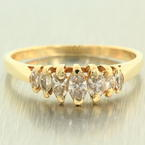 Classic Estate 14K Yellow Gold Diamond 0.80CTW Right Hand Pyramid Ring