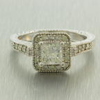 Ladies Estate 14K White Gold Princess Cut Natural Diamond 1.10CTW Engagement Ring Jewelry