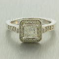 Exquisite Ladies 14K White Gold Princess Cut Diamond 1.10CTW Engagement Ring Jewelry