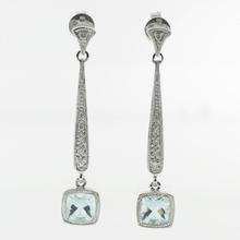 Charming Ladies 14K White Gold Aquamarine and Diamond 1.45CTW Drop Earrings Jewelry