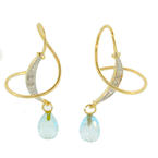 New 14K Yellow Gold Diamond and Light Blue Topaz 2.10CTW Threader Earrings Jewelry