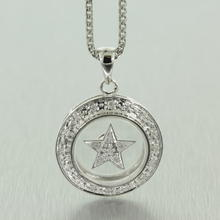 "Modern Spinning Star 14K White Gold Diamond 0.20CTW 24"" Chain Pendant Jewelry"