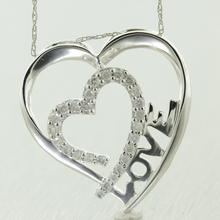 "Modern 10K White Gold Real Diamond 0.35CTW Heart Pendant and 18"" Chain Jewelry"