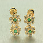 Womens Retro Vintage 14K Yellow Gold Natural Diamond and Emerald 0.95CTW Earrings Jewelry