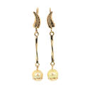 Retro Vintage Ladies 10K Yellow Gold Pearl Drop Earrings Jewelry