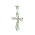 Classic Vintage Retro 14K White Gold Diamond 1.50CTW Cross Pendant