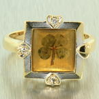Vintage Men's Estate 14K Yellow Gold Diamond Shamrock Ring