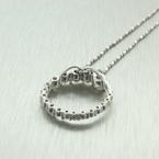 "Genuine Diamond 0.90CTW in 14k White Gold Journey Circle of Love Pendant 16"" Chain"