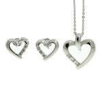 Lovely Ladies 14K White Gold Diamond 0.20CTW Pendant and Earrings Jewelry Set