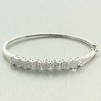 Exquisite Ladies 14K White Gold Diamond 2.00CTW Flower Bangle Jewelry